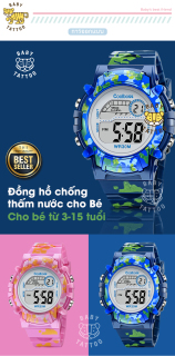 [MIỄN PHÍ GIAO HÀNG] Đồng hồ trẻ em đa chức năng kết hợp hiệu ứng đèn Lex 7 màu chính hãng Coobos 7