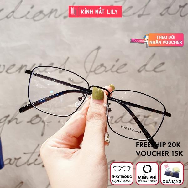 Mua Gọng kính kim loại nữ mắt vuông Lilyeyewear 8818 nhẹ nhàng thanh mảnh giúp người đeo thoải mái phù hợp với nhiều khuôn mặt  gọng kính có nhiều màu một size kèm quà
