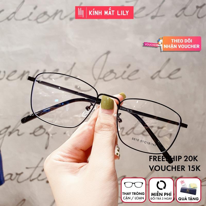 Giá bán Gọng kính kim loại nữ mắt vuông Lilyeyewear 8818 nhẹ nhàng thanh mảnh giúp người đeo thoải mái phù hợp với nhiều khuôn mặt  gọng kính có nhiều màu một size kèm quà