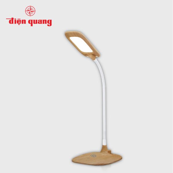 Đèn bàn sạc LED bảo vệ thị lực Điện Quang ĐQ LDL12B 6W (Pin LITHIUM, 6W, vỏ giả gỗ)