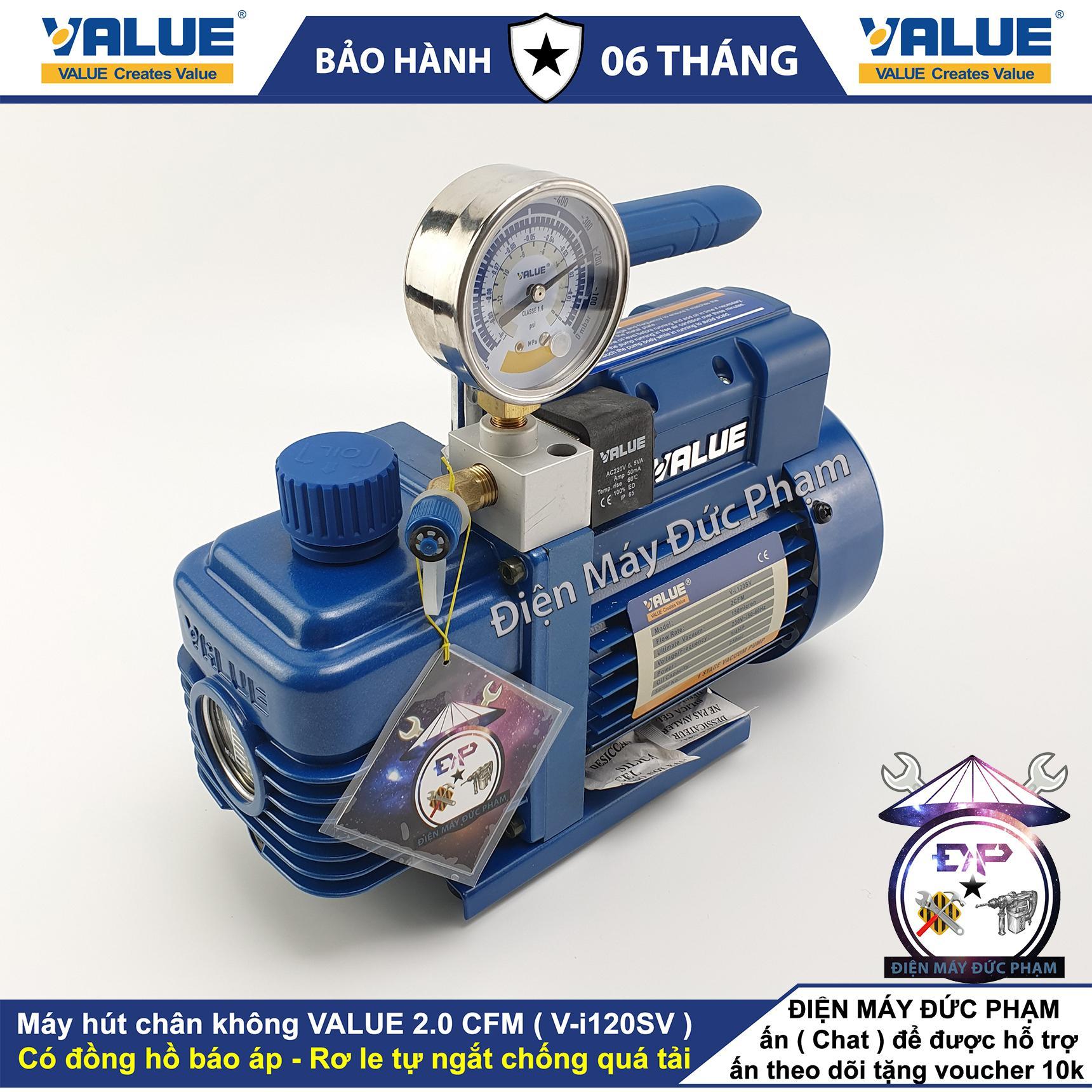 Máy hút chân không Value 2.0 CFM V-i120SV có đồng hồ báo áp