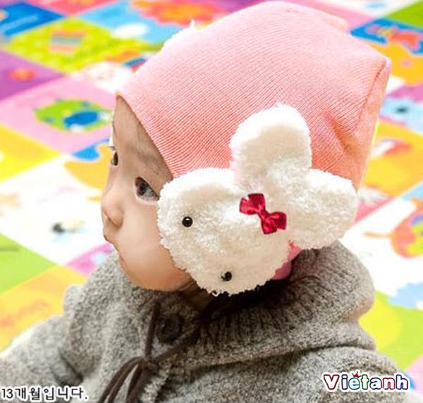 Mũ nón len bé trai và gái mẫu tai thỏ- ML1 ( Xả Hàng )