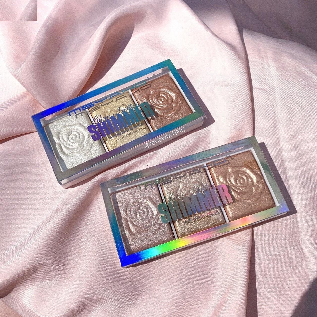 Shimmer Glow bắt sáng Hoa Hồng 3 ô MSYAHO, phấn bắt sáng hoa hồng, sản phẩm trang điểm da-làm làn da trở nên lấp lánh-nhũ và kim tuyến