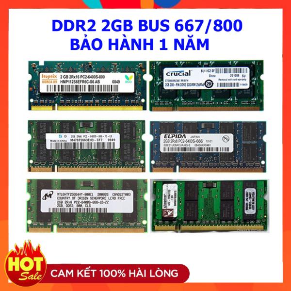 Ram laptop DDR2 2GB Bus 667 800 Samsung Hynix Micron Elpida Kingston...