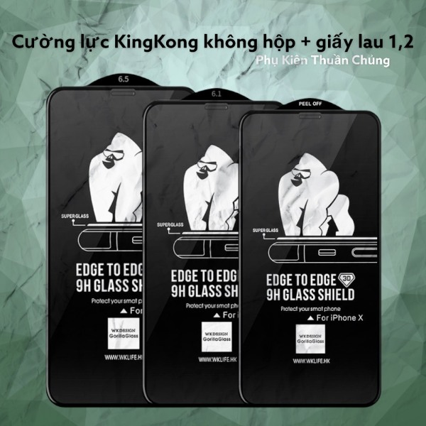 [HCM]Miếng dán kính cường Lực iphone 3D WK KingKong (KHÔNG HỘP) dành cho Iphone 6 6Plus 6s 6sPlus 7 7Plus 8 8 Plus X Xs Xr XsMax ip11 ip11 pro ip 11promax,12,12 pro,12promax