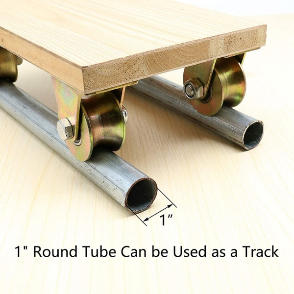 2 Pcs 2 inch U-Groove Track Wheel Sliding Door Roller for Inverted Track Rolling Gate Industrial Machines Wire Rope Rail