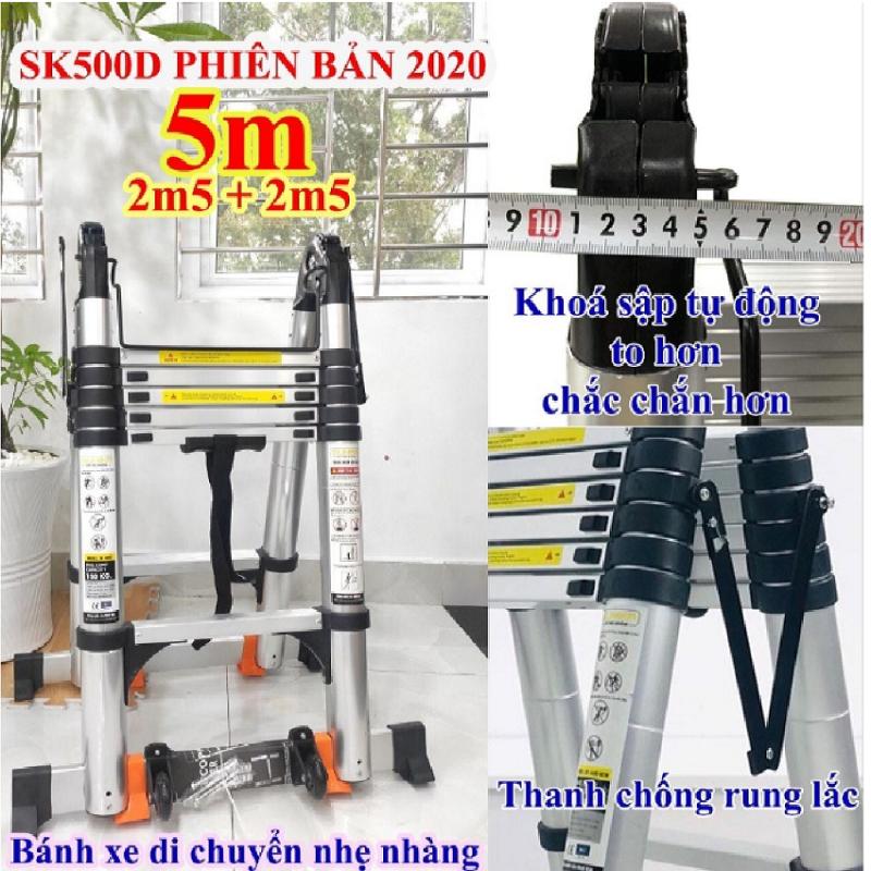 Thang nhôm rút đôi SUMIKA SK 500D New 2020 Chữ A 2m5 – duỗi thẳng 5m ( màu bạc ) dễ xếp gọn. An toàn – Tiện lợi – Tiết kiệm ,2x8 bậc, tải trọng 300kg,nút cao su chống trượt,khóa chống lắc.