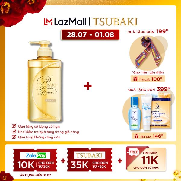 Dầu gội phục hồi hư tổn ngăn rụng tóc Tsubaki premium repair shampoo 490ml cao cấp