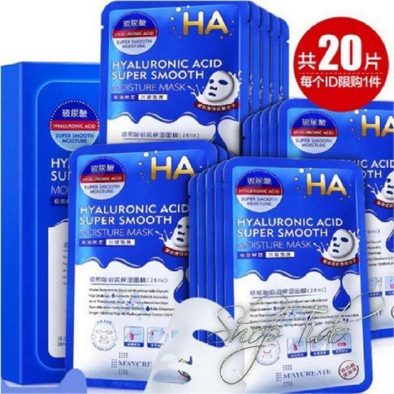 Hộp 20 miếng mặt nạ siêu cấp ẩm MayCreate HA Hyaluronic Acid Super Smooth Moisture Mask 23ml x 20