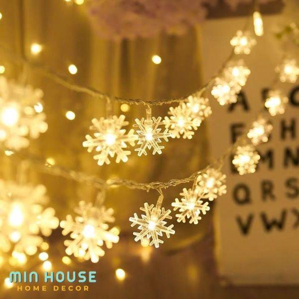 Bảng giá Dây đèn led trang trí bông tuyết màu vàng ấm không nhấp nháy Minhouse