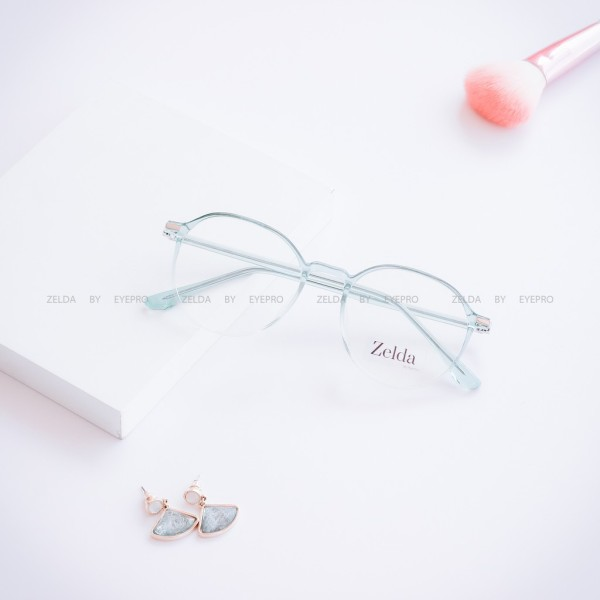 Giá bán [LẮP SẴN CẬN]Gọng kính cận nữ, gọng cận nhựa dẻo cốt kim loại, mắt kính tròn Z8890G