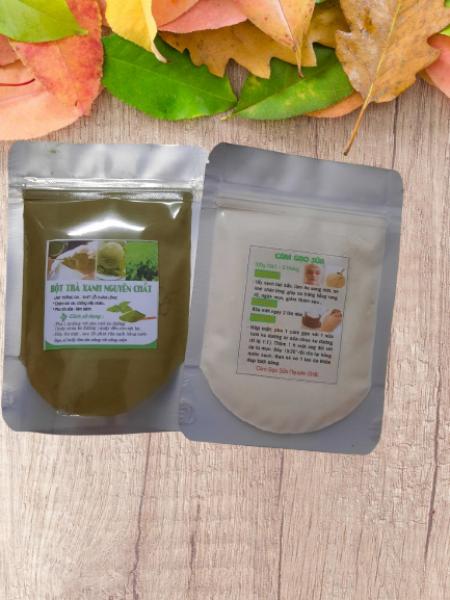 Combo 2 gói bột trà xanh bột cám gạo sữa đắp mặt & tắm trắng (50g & 100g) nhập khẩu