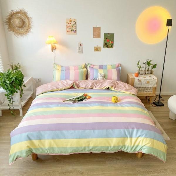 Bộ chăn ga gối Cotton PL 7 SẮC CẦU VỒNG, set 4 món gồm vỏ chăn, ga trải giường, đôi vỏ gối nằm - EmmiBedding Store
