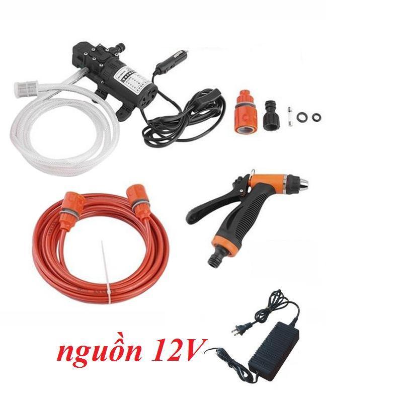Máy rửa xe mini 8m dây - máy bơm nước mini 12v - rửa xe đa năng kèm nguồn 220v-12v