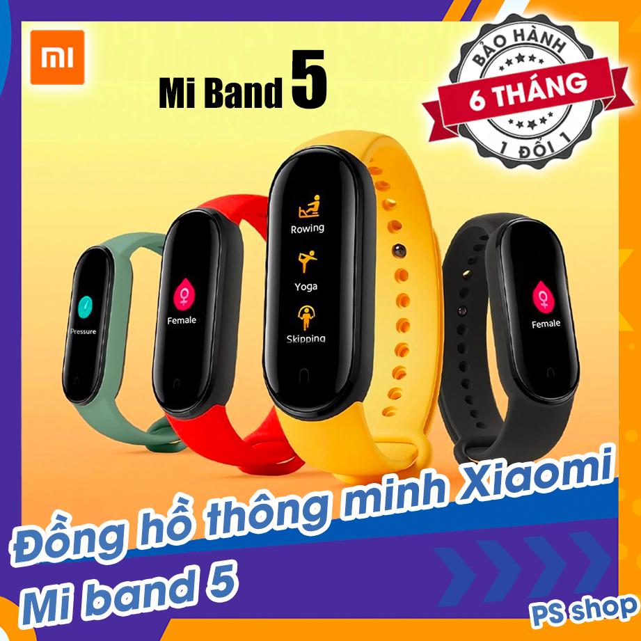 [Sẵn Hàng] Đồng hồ thông minh Xiaomi Mi Band 5 / Vòng tay theo dõi sức khoẻ Miband 5 - Theo dõi nhịp tim - Thông báo tình trạng sức khỏe - Nhiều chế độ tập luyện thể thao - Chống nước - Màu đen [ Tặng kèm dán màn hình ]
