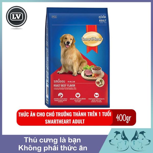Hạt khô cho chó - Thức ăn cho chó lớn Smartheart Adult vị thịt bò nướng Túi 400gr