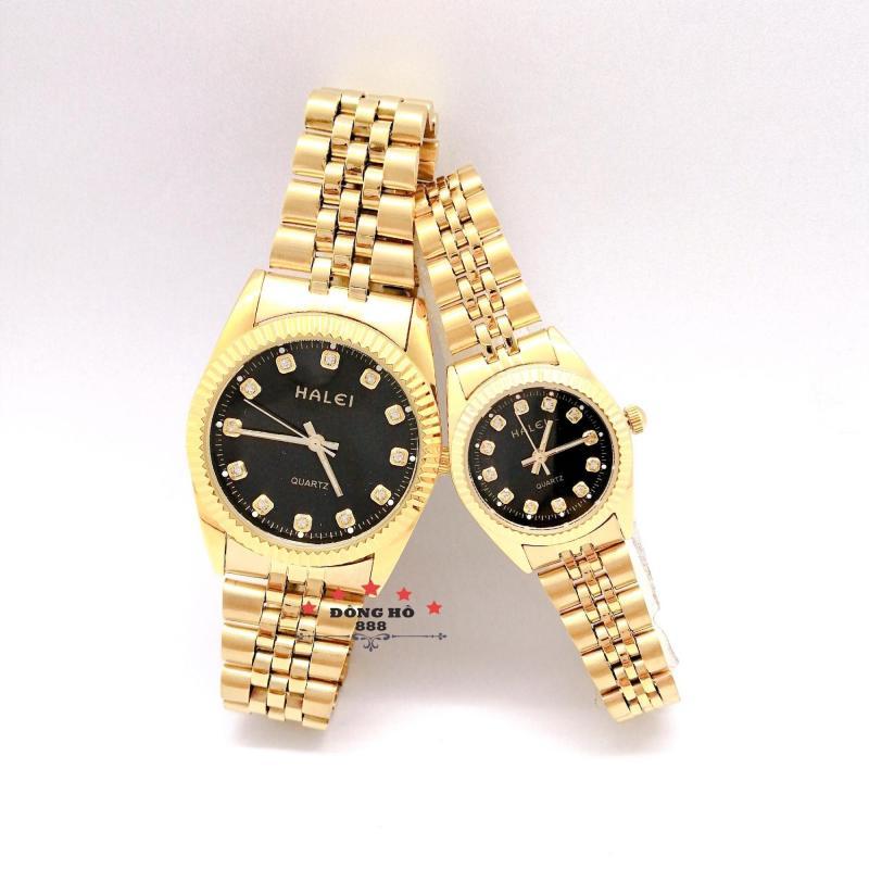 Đồng hồ đôi Halei 356 dây thép không gỉ, có lịch, chống nuớc, chống xước - TẶNG combo 1 vòng tỳ hưu phong thủy + pin Nhật