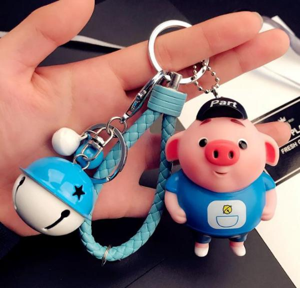 Móc khóa con lợn Cute kèm dây và chuông lớn siêu HOT