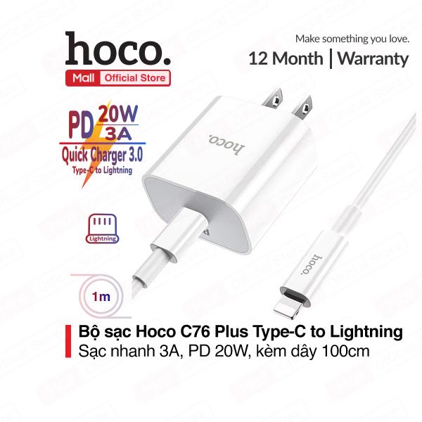 Bộ sạc nhanh Hoco C76 Plus Type-C to Lightning hỗ trợ sạc nhanh 3A PD 20W tương thích với iPhone/iPad... chân cắm US