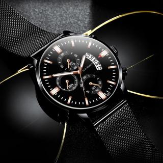 Đồng hồ nam ECONOMICXI dây thép lụa đen thiết kế lịch lãm chạy lịch ngày cao cấp YLK009 (full hộp) thumbnail