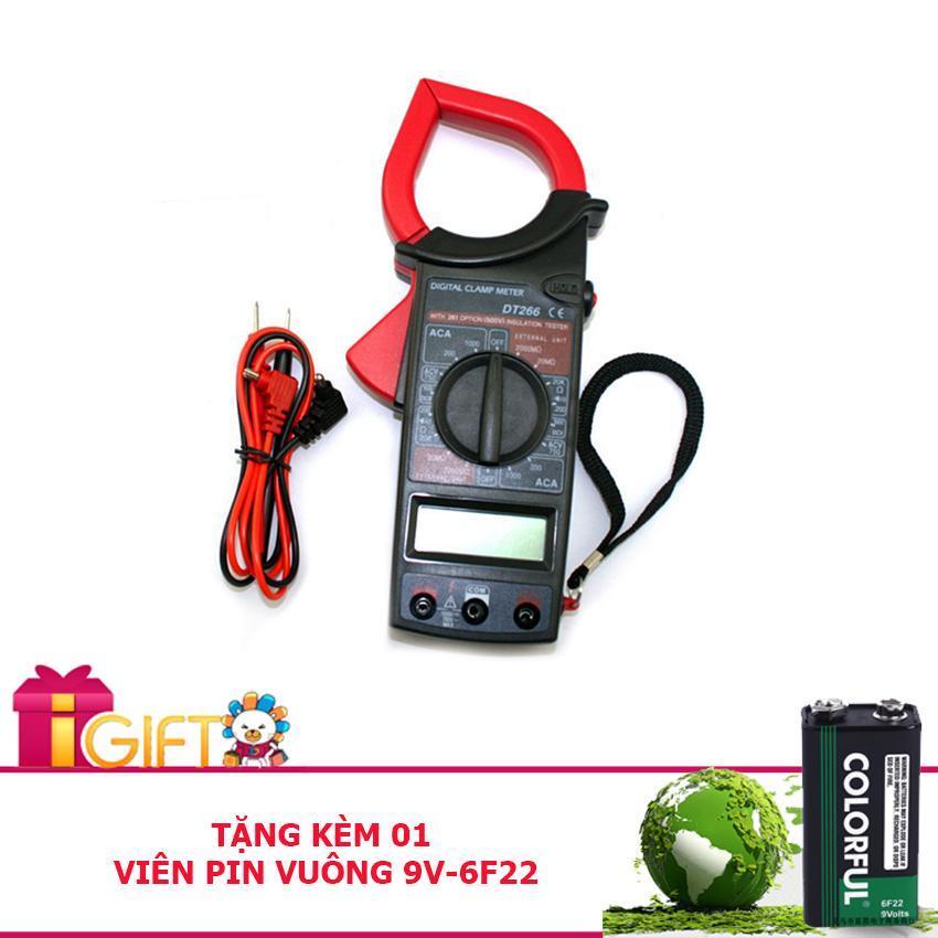 Kìm, kẹp vạn năng kỹ thuật số đo điện DT 266 - Tặng kèm pin vuông 9V-6F22