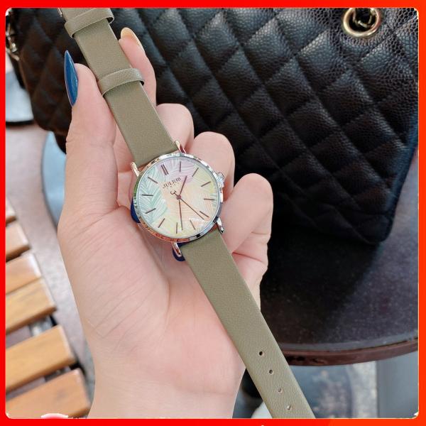 Đồng hồ nữ Julius Hàn Quốc JA-1090C mặt họa tiết - chống thấm nước- dây da thời thượng