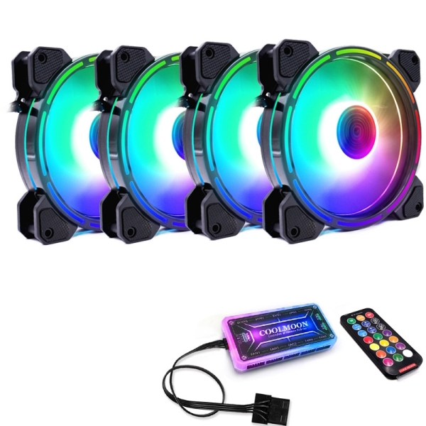 COOLMOON F-GL2 Computer Case PC Cooling Fan RGB Adjust 120mm Quiet + IR Remote New Computer Cooler RGB CPU Case Fan