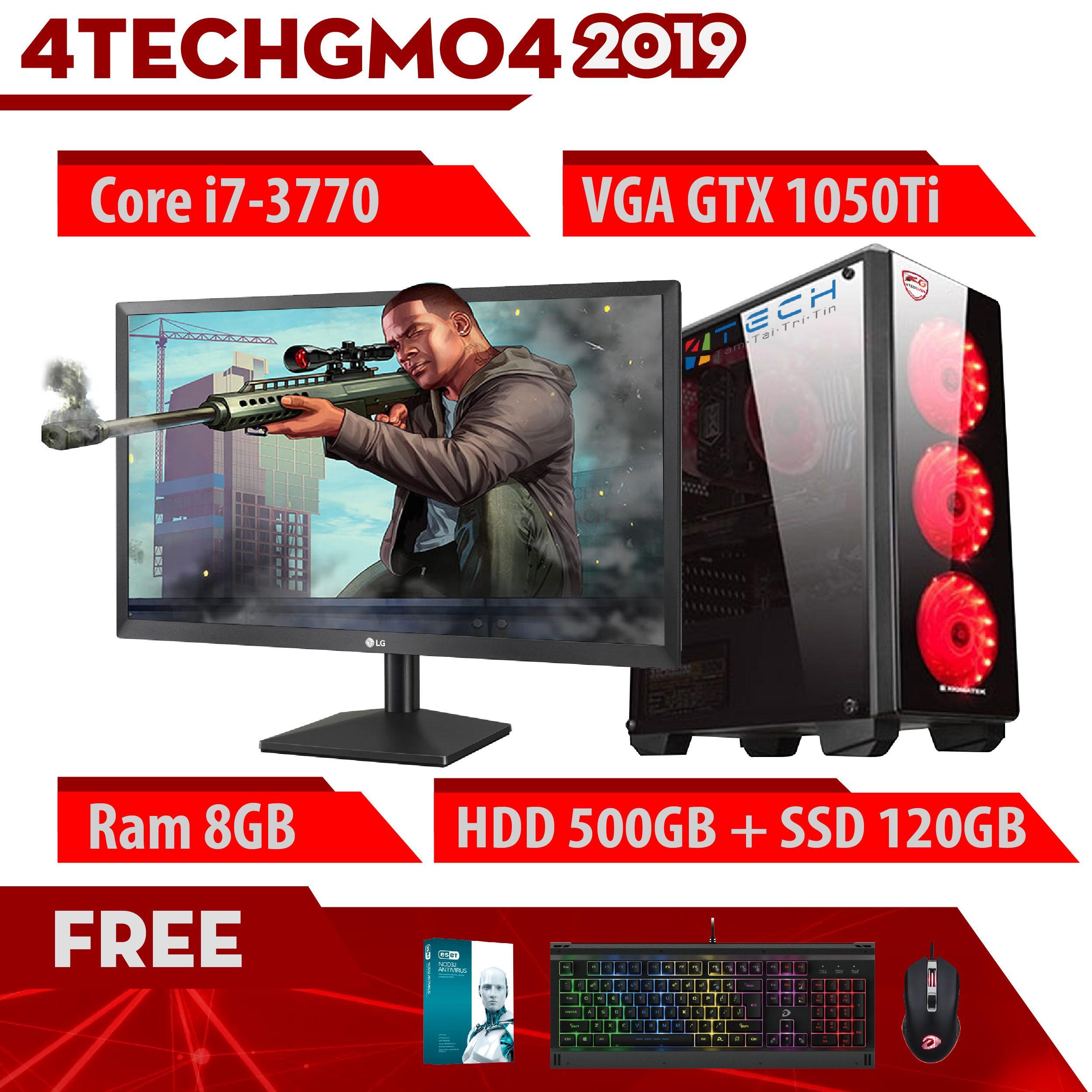 Máy Tính Chơi Game 4TechGM04 - 2019 Core i7-3770, Ram 8GB, HDD 500GB + SSD 120GB, VGA GTX 1050Ti, Màn hình 22 inch - Tặng Bộ Phím Chuột Gaming DareU.