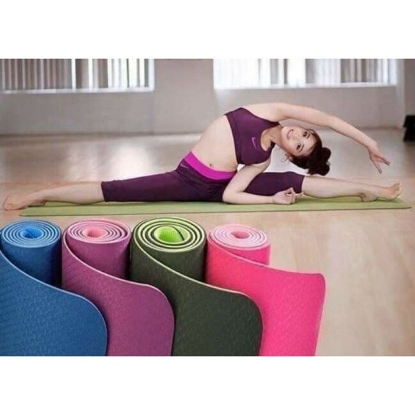 Thảm Tập Yoga chống trượt 2 lớp dày xịn chất liệu cao su non TPE cao cấp tấm thảm tập gym thể dục tại nhà GYGA