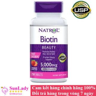Viên Ngậm Hỗ Trợ Mọc Tóc Natrol Biotin 5000mcg Extra Strength Fast Dissolve 250 Viên vị dâu của Mỹ thumbnail