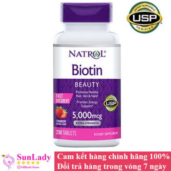 Viên Ngậm Hỗ Trợ Mọc Tóc Natrol Biotin 5000mcg Extra Strength Fast Dissolve 250 Viên  vị dâu của Mỹ