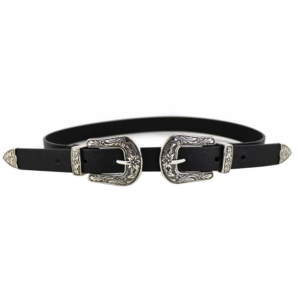 Giá bán Fashion Metal Women Lady Leather Carved Flower Double Buckle Waistband