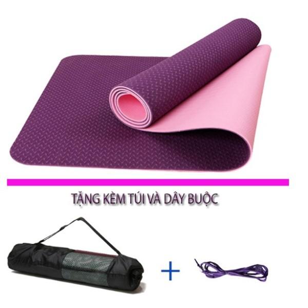 Bảng giá Thảm tập yoga 2 lớp TPE cao cấp tặng kèm túi đựng thảm