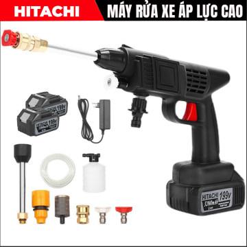 Máy rửa xe cầm tay dùng pin Hitachi 118V – Áp lực mạnh mẽ, pin sạc bền bỉ - Đa chức năng, dễ sử dụng – 3 chế độ phun rửa – Chuyên sử dụng vệ sinh ô tô, xe máy, vật dụng gia đình, tưới hoa màu