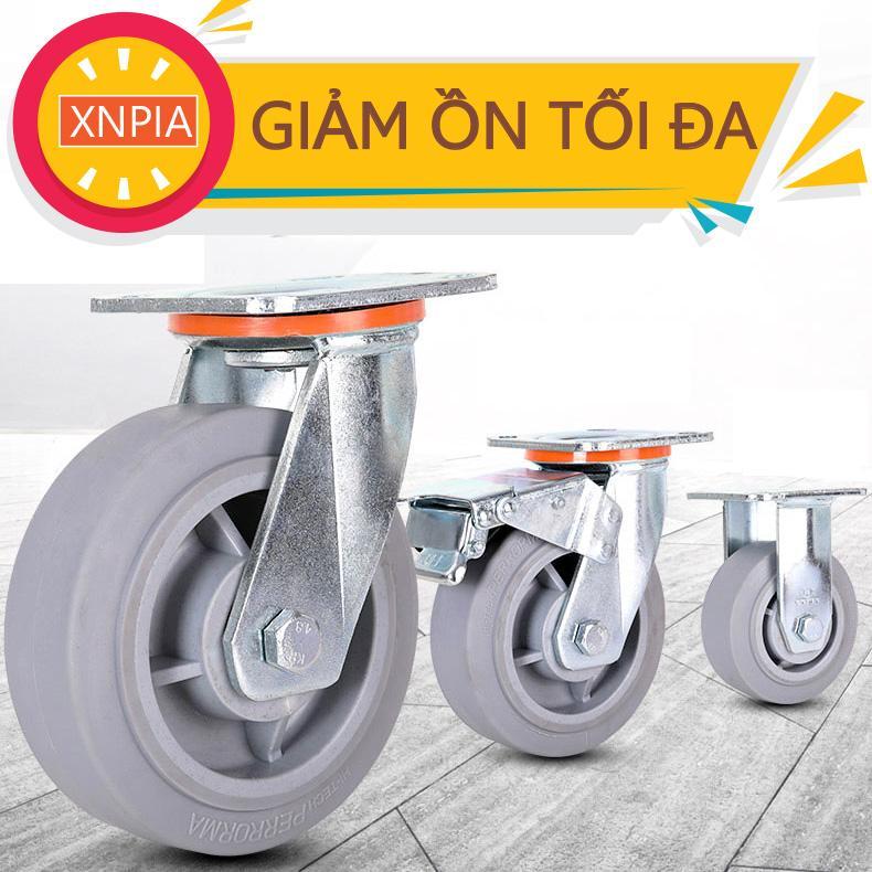 Bánh xe đẩy hàng Cao su - Giảm ồn tối đa - Cao su -TPR  125mm