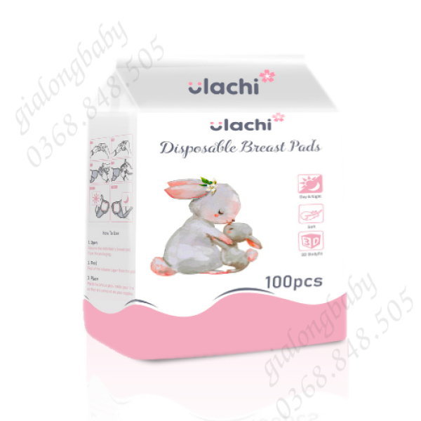 Miếng lót thấm sữa Ulachi - bịch 100 miếng, siêu thấm hút