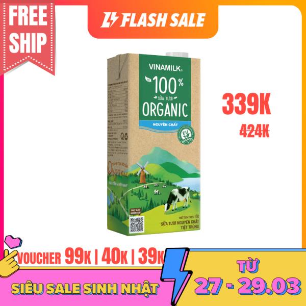 [VOUCHER40K][FREESHIP]-Bộ 8 hộp Sữa tươi Vinamilk 100% Organic-Hộp 1L