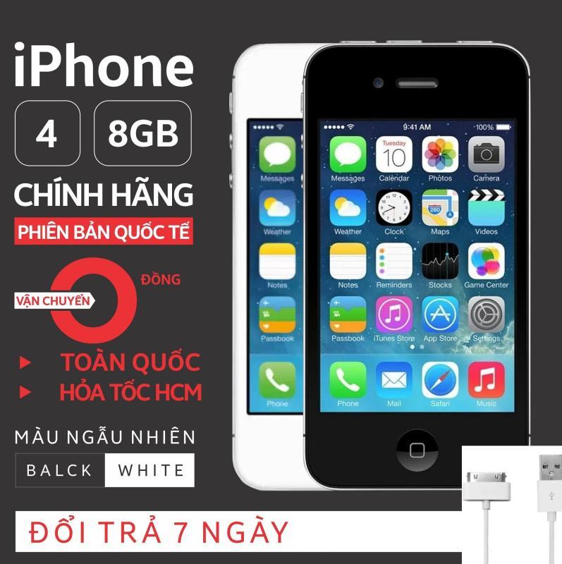 Điện thoại smart phone giá rẻ IPHONE 4 - 8GB phiên bản quốc tế - Chính hãng Apple - Bao đổi trả không điều kiện (Màu ngẫu nhiên trắng/đen)