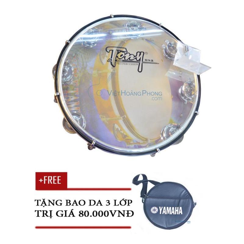 Trống lắc tay - trống gõ bo - Tambourine Cao Cấp TONY (USA) - Tặng bao da 3 lớp - Việt Hoàng Phong