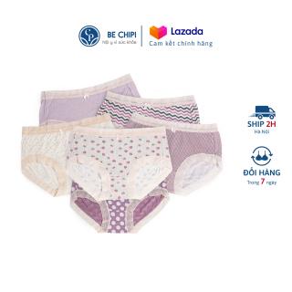 Combo 5 Quần Lót Cotton Cạp Vừa Mỏng Nhẹ Siêu Thoáng Họa Tiết Có Ren By Bechipi - QL5514 thumbnail