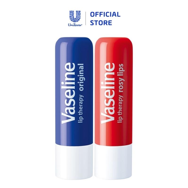Bộ 2 son dưỡng môi Vaseline dạng thỏi 4.8g: Mềm Mịn và Hồng Xinh