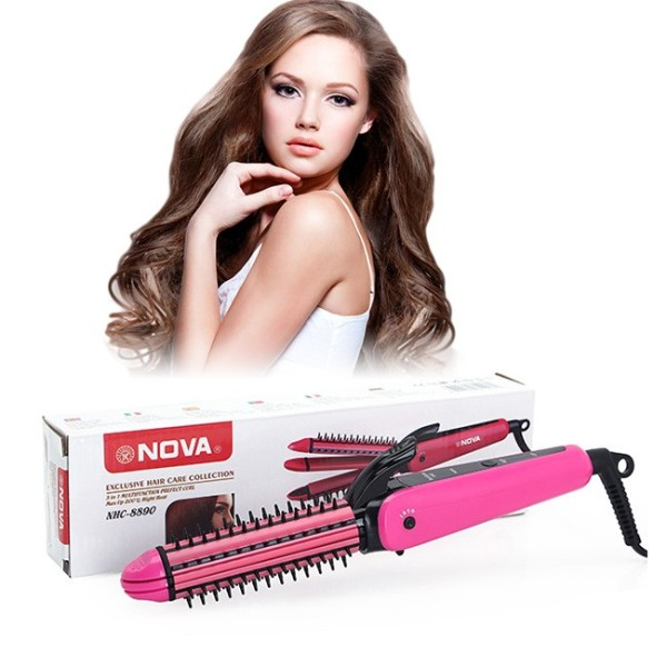 Lược điện uốn tóc + Máy Tạo Kiểu Tóc 3 Trong 1 Uốn - Duỗi - Bấm - Lược Điện Đa Năng Nova NHC - 8890 (3 In 1) cao cấp