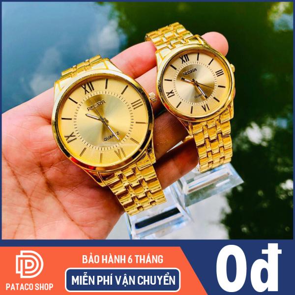 Đồng hồ thời trang nam nữ ROSRA R114 dây kim loại chống gỉ cao cấp mặt vàng số la mã sang trọng đẳng cấp