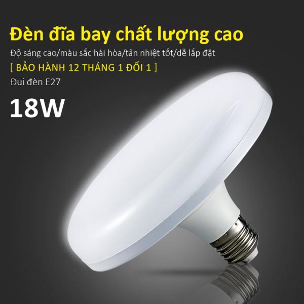 Bóng đèn led hình đĩa bay treo trần 18W 24W 36W 50W tiết kiệm điện chống nước bảo vê mắt tản nhiệt bảo hành 1 năm E28