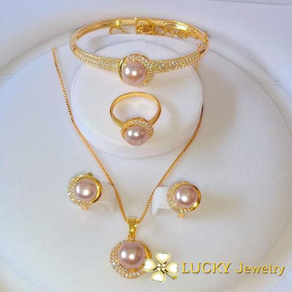 Bộ trang sức Lucky Jewelry LJ512 Vàng 18K đính Ngọc Trai