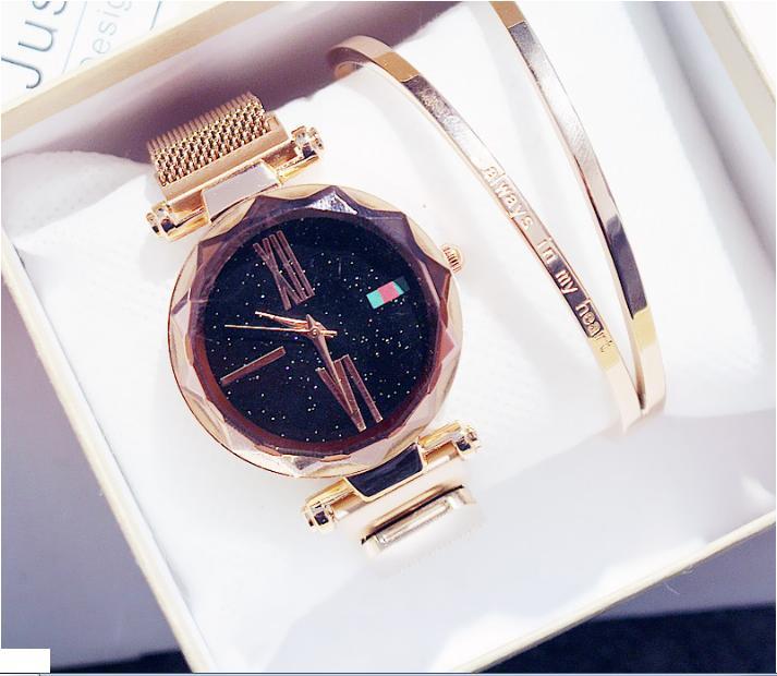 [SIÊU GIẢM GIÁ][TẶNG HỘP VÀ PIN 3 NĂM TRỊ GIÁ 50K] Đồng hồ nữ thời trang cao cấp dây thép lụa kim loại chống nước mặt kim tuyến khóa nam châm đủ màu