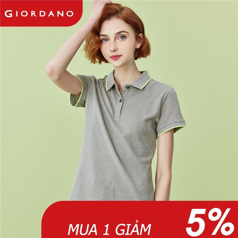 Áo thun có cổ polo nữ thiết kế đơn giản chất liệu thoáng mát thoải mái mềm mịn Giordano 05310389