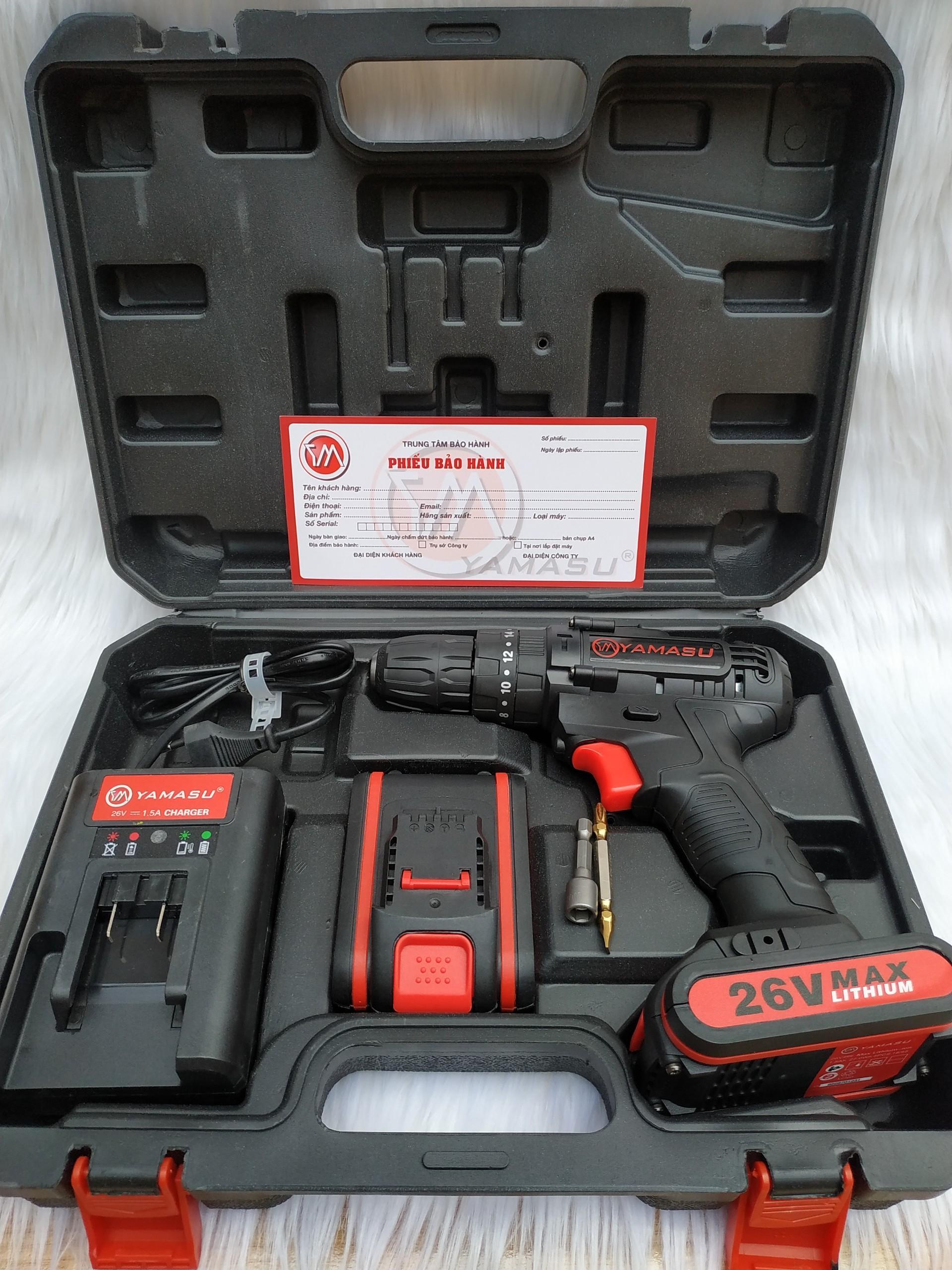 Khoan pin Yamasu 26V, bảo hành hãng 1 năm, số 1 về chất lượng pin