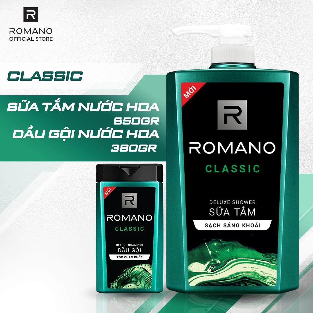 Combo Romano Classic: Sữa tắm phiên bản Duluxe sạch sảng khoái 650g và Dầu gội cao cấp lịch lãm tóc chắc khỏe 380g tốt nhất