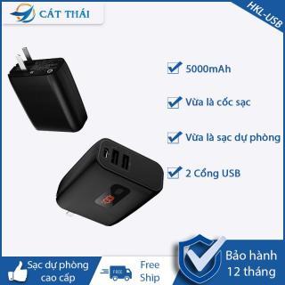 Cốc sạc kèm pin dự phòng HKL-USB55 2 IN 1 Cát Thái dung lượng 5000mAh 2 cổng USB có màn hình hiển thị nhỏ gọn di động thumbnail